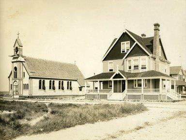"<em>""Beach Haven: the great seashore opportunity. Views of Beach Haven. View 37: Saint Thomas Aquinas Catholic Church and Rectory.""</em>, 1900-1914. Bw photograph (original print), 9 x 7in (23 x 18cm). Brooklyn Museum, Beachhaven. (F142_O2_B35_Beachhaven_035.jpg"