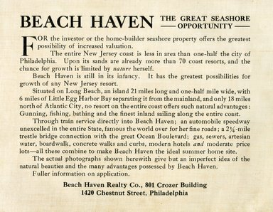 "<em>""Beach Haven: the great seashore opportunity. Views of Beach Haven. View 02: title page.""</em>, 1900-1914. Bw photograph (original print), 9 x 7in (23 x 18cm). Brooklyn Museum, Beachhaven. (F142_O2_B35_Beachhaven_flyer.jpg"