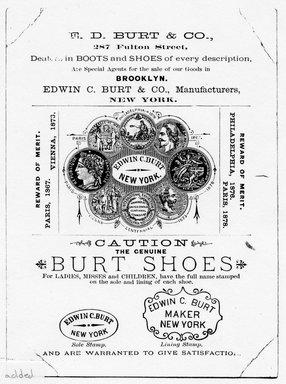 "<em>""Tradecard. Edwin C. Burt & Co. 287 Fulton Street. Brooklyn, NY. Verso.""</em>. Printed material, 5.75 x 4.25 in (14.8 x 11 cm). Brooklyn Museum, CHART_2011. (HF5841_Ad9_p02_tradecard02_verso_photocopy.jpg"