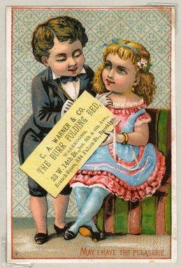 "<em>""Tradecard. C. A. Warner & Co. 534 Fulton Street. Brooklyn, NY. Recto.""</em>. Printed material, 4.625 x 3.125 in (11.8 x 8 cm). Brooklyn Museum, CHART_2011. (HF5841_Ad9_p02_tradecard03_recto.jpg"