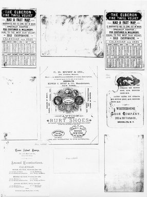 "<em>""Photocopy of set of 9 tradecards mounted on cardstock. Verso.""</em>. Printed material, 15 x 11.5 in (38 x 29.3 cm). Brooklyn Museum, CHART_2011. (HF5841_Ad9_p02_verso_photocopy.jpg"