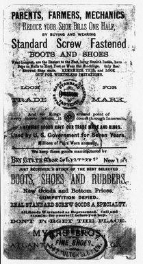 "<em>""Tradecard. J. Kearney Fine Shoes. 547 Fulton St. Brooklyn, NY. Verso.""</em>. Printed material, 3.5 x 6.625 in (8.9 x 16.8 cm). Brooklyn Museum, CHART_2011. (HF5841_Ad9_p03_tradecard03_verso_photocopy.jpg"