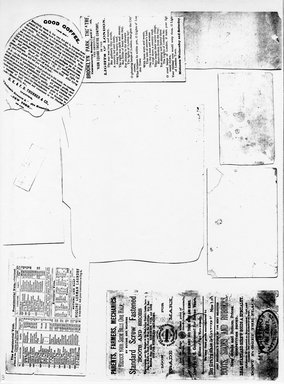 "<em>""Photocopy of set of  9 tradecards mounted on cardstock. Verso.""</em>. Printed material, 15 x 11.5 in (38 x 29.3 cm). Brooklyn Museum, CHART_2011. (HF5841_Ad9_p03_verso_photocopy.jpg"