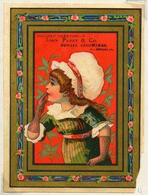 "<em>""Tradecard. John Paret & Co. Retail Clothiers. Brooklyn, NY. Recto.""</em>. Printed material, 5.125 x 3.75 in (13 x 9.7 cm). Brooklyn Museum, CHART_2011. (HF5841_Ad9_p04_tradecard03_recto.jpg"
