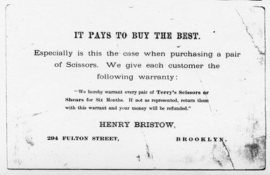 "<em>""Tradecard. Henry Bristow. 296 Fulton St. Brooklyn, NY. Recto.""</em>. Printed material, 4 x 6.25 in (10.1 x 16 cm). Brooklyn Museum, CHART_2011. (HF5841_Ad9_p06_tradecard03_verso_photocopy.jpg"