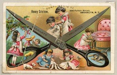 "<em>""Tradecard. Henry Bristow. 296 Fulton St. Brooklyn, NY. Verso.""</em>. Printed material, 4 x 6.25 in (10.1 x 16 cm). Brooklyn Museum, CHART_2011. (HF5841_Ad9_p06_tradecard04_recto.jpg"