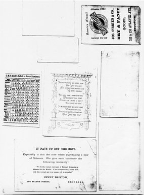 "<em>""Photocopy of set of 8 tradecards mounted on cardstock. Verso.""</em>. Printed material, 15 x 11.5 in (38 x 29.3 cm). Brooklyn Museum, CHART_2011. (HF5841_Ad9_p06_verso_photocopy.jpg"