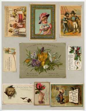 "<em>""Set of 9 tradecards mounted on cardstock. Recto.""</em>. Printed material, 15 x 11.5 in (38 x 29.3 cm). Brooklyn Museum, CHART_2011. (HF5841_Ad9_p08_recto.jpg"