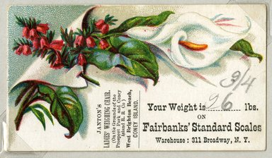 "<em>""Tradecard. Janton's Ladies Weighing Chair. West Brighton Beach, Coney Island. Recto.""</em>. Printed material, 2 x 3.375 in (5 x 8.5 cm). Brooklyn Museum, CHART_2011. (HF5841_Ad9_p08_tradecard02_recto.jpg"