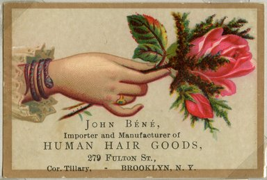 "<em>""Tradecard. John Bene. Human Hair Goods. 279 Fulton St. Brooklyn, NY. Recto.""</em>. Printed material, 2.25 x 3.25 in (5.7 x 8.4 cm). Brooklyn Museum, CHART_2011. (HF5841_Ad9_p08_tradecard03_recto.jpg"