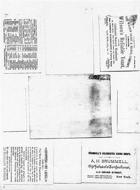 "<em>""Photocopy of set of 9 tradecards mounted on cardstock. Verso.""</em>. Printed material, 15 x 11.5 in (38 x 29.3 cm). Brooklyn Museum, CHART_2011. (HF5841_Ad9_p08_verso_photocopy.jpg"