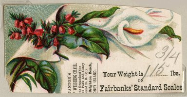 """<em>""""Tradecard. Janton's Ladies Weighing Chair. West Brighton Beach, Coney Island. Recto.""""</em>. Printed material, 1.75 x  3.375 in (4.4 x 8.5 cm). Brooklyn Museum, CHART_2011. (HF5841_Ad9_p09_tradecard01_recto.jpg"""
