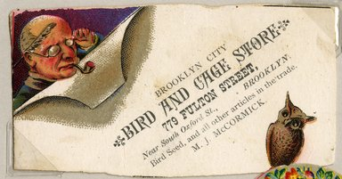 "<em>""Tradecard. Brooklyn City Bird And Cage Store. 779 Fulton St. Brooklyn, NY. Recto.""</em>. Printed material, 1.75 x  3.375 in (4.4 x 8.5 cm). Brooklyn Museum, CHART_2011. (HF5841_Ad9_p09_tradecard02_recto.jpg"