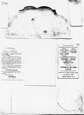 "<em>""Photocopy of set of 9 tradecards mounted on cardstock. Verso.""</em>. Printed material, 15 x 11.5 in (38 x 29.3 cm). Brooklyn Museum, CHART_2011. (HF5841_Ad9_p09_verso_photocopy.jpg"