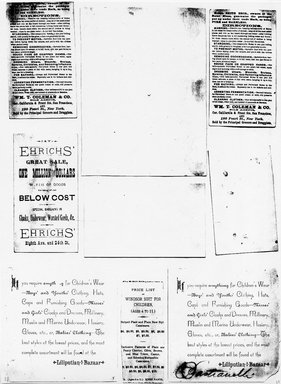 """<em>""""Photocopy of set of 9 tradecards mounted on cardstock. Verso.""""</em>. Printed material, 15 x 11.5 in (38 x 29.3 cm). Brooklyn Museum, CHART_2011. (HF5841_Ad9_p11_verso_photocopy.jpg"""