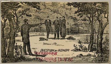"<em>""Tradecard. Question of Honor. 39 & 41 Fulton St. Brooklyn, NY.""</em>. Printed material, 2.5 x 4.375 in (6.2 x 11.2 cm). Brooklyn Museum, CHART_2011. (HF5841_Ad9_p12_tradercard01_recto.jpg"
