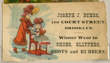 "<em>""Tradecard. Joseph J. Byers. 110 Court Str. Brooklyn, NY. Recto.""</em>. Printed material, 1.5 x 3.125 in (4.5 x 8 cm). Brooklyn Museum, CHART_2011. (HF5841_Ad9_p14_tradecard01_recto.jpg"