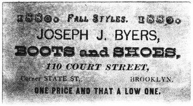 "<em>""Tradecard. Joseph J. Byers. 110 Court Str. Brooklyn, NY. Verso.""</em>. Printed material, 1.5 x 3.125 in (4.5 x 8 cm). Brooklyn Museum, CHART_2011. (HF5841_Ad9_p14_tradecard01_verso_photocopy.jpg"