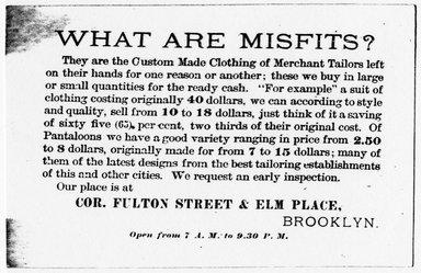 "<em>""Tradecard. Misfit Parlors. Fulton St & Elm Place. Brooklyn, NY. Verso.""</em>. Printed material, 4.5 x 3 in (11.5 x 7.5 cm). Brooklyn Museum, CHART_2011. (HF5841_Ad9_p15_tradecard01_verso_photocopy.jpg"