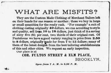"<em>""Tradecard. Misfit Parlors. Fulton St & Elm Place. Brooklyn, NY. Verso.""</em>. Printed material, 4.5 x 3 in (11.5 x 7.5 cm). Brooklyn Museum, CHART_2011. (HF5841_Ad9_p15_tradecard02_verso_photocopy.jpg"