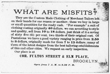 "<em>""Tradecard. Misfit Parlors. Fulton St & Elm Place. Brooklyn, NY. Verso.""</em>. Printed material, 4.5 x 3 in (11.5 x 7.5 cm). Brooklyn Museum, CHART_2011. (HF5841_Ad9_p15_tradecard03_verso_photocopy.jpg"