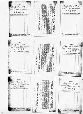 "<em>""Photocopy of set of 9 tradecards mounted on cardstock. Verso.""</em>. Printed material, 15 x 11.5 in (38 x 29.3 cm). Brooklyn Museum, CHART_2011. (HF5841_Ad9_p15_verso_photocopy.jpg"