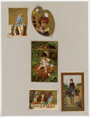 """<em>""""Set of 5 tradecards mounted on cardstock. Recto.""""</em>. Printed material, 15 x 11.5 in (38 x 29.3 cm). Brooklyn Museum, CHART_2011. (HF5841_Ad9_p22_recto.jpg"""