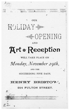 "<em>""Tradecard. Henry Bristow. 294 Fulton St. Brooklyn, NY. Verso.""</em>. Printed material, 5.25 x 3.125 in (13.5 x 8 cm). Brooklyn Museum, CHART_2011. (HF5841_Ad9_p22_tradecard01_verso_photocopy.jpg"