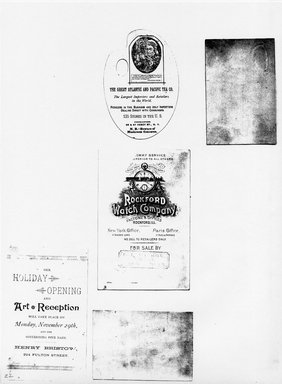 "<em>""Photocopy of set of 5 tradecards mounted on cardstock. Verso.""</em>. Printed material, 15 x 11.5 in (38 x 29.3 cm). Brooklyn Museum, CHART_2011. (HF5841_Ad9_p22_verso_photocopy.jpg"