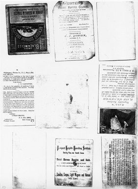 "<em>""Photocopy of set of 9 tradecards mounted on cardstock. Verso.""</em>. Printed material, 15 x 11.5 in (38 x 29.3 cm). Brooklyn Museum, CHART_2011. (HF5841_Ad9_p23_verso_photocopy.jpg"