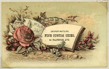 "<em>""Tradecard. George Metzler. Fine Custom Shoes. 64 Flatbush Ave. Brooklyn, NY. Recto.""</em>. Printed material, 3 x 4.875 in (7.9 x 12.5 cm). Brooklyn Museum, CHART_2011. (HF5841_Ad9_p24_tradecard01_recto.jpg"