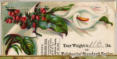 """<em>""""Tradecard. Janton's Ladies Weighing Chair. West Brighton Beach, Coney Island. Recto.""""</em>. Printed material, 2 x 3.375 in (5 x 8.5 cm). Brooklyn Museum, CHART_2011. (HF5841_Ad9_p24_tradecard05_recto.jpg"""