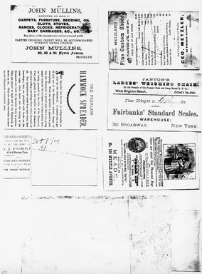 """<em>""""Photocopy of set of 10 tradecards mounted on cardstock. Verso.""""</em>. Printed material, 15 x 11.5 in (38 x 29.3 cm). Brooklyn Museum, CHART_2011. (HF5841_Ad9_p24_verso_photocopy.jpg"""