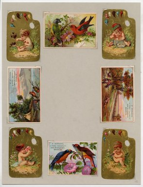 """<em>""""Set of 8 tradecards mounted on cardstock. Recto.""""</em>. Printed material, 15 x 11.5 in (38 x 29.3 cm). Brooklyn Museum, CHART_2011. (HF5841_Ad9_p25_recto.jpg"""