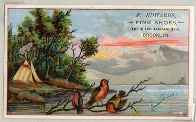 "<em>""Tradecard. F. Edwards, Fine Shoes. 160 & 168 Atlantic Ave, Brooklyn. Recto.""</em>. Printed material, 3 x 4.875 in (7.9 x 12.5 cm). Brooklyn Museum, CHART_2011. (HF5841_Ad9_p25_tradecard04_recto.jpg"