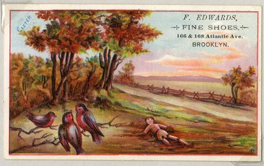 """<em>""""Tradecard. F. Edwards, Fine Shoes. 160 & 168 Atlantic Ave, Brooklyn. Recto.""""</em>. Printed material, 3 x 4.875 in (7.9 x 12.5 cm). Brooklyn Museum, CHART_2011. (HF5841_Ad9_p25_tradecard05_recto.jpg"""