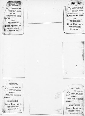 """<em>""""Photocopy of set of 8 tradecards mounted on cardstock. Verso.""""</em>. Printed material, 15 x 11.5 in (38 x 29.3 cm). Brooklyn Museum, CHART_2011. (HF5841_Ad9_p25_verso_photocopy.jpg"""