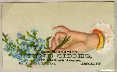 "<em>""Tradecard. PJ McDermott Fine Shoes. 177 Flatbush Avenue. Brooklyn, NY. Recto.""</em>. Printed material, 1.875 x 3.1875 in (4.9 x 8.1 cm). Brooklyn Museum, CHART_2011. (HF5841_Ad9_p26_tradecard01_recto.jpg"
