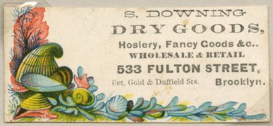 """<em>""""Tradecard. S. Downing Dry Goods. 533 Fulton St. Brooklyn, NY. Recto.""""</em>. Printed material, 1.375 x 3.125 in (3.5 x 8 cm). Brooklyn Museum, CHART_2011. (HF5841_Ad9_p26_tradecard03_recto.jpg"""