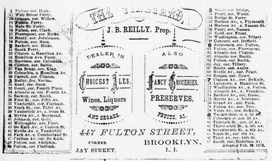 "<em>""Tradecard. The Vineyard. 447 Fulton St. Brooklyn, NY. Verso.""</em>. Printed material, 4.5 x 3 in (11.5 x 7.5 cm). Brooklyn Museum, CHART_2011. (HF5841_Ad9_p26_tradecard04_verso_photocopy.jpg"