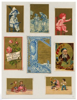 """<em>""""Set of 8 tradecards mounted on cardstock. Recto.""""</em>. Printed material, 15 x 11.5 in (38 x 29.3 cm). Brooklyn Museum, CHART_2011. (HF5841_Ad9_p28_recto.jpg"""