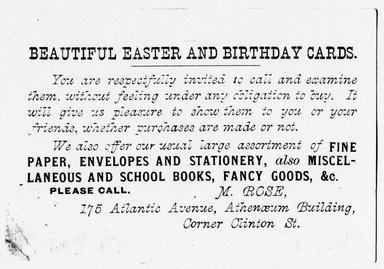 "<em>""Tradecard. M. Rose. 175 Atlantic Ave. Brooklyn, NY. Verso.""</em>. Printed material, 4.5 x 3.125 in (11.5 x 8 cm). Brooklyn Museum, CHART_2011. (HF5841_Ad9_p28_tradecard02_verso_photocopy.jpg"