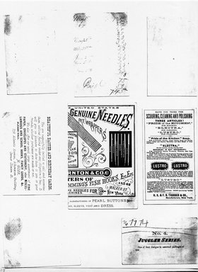 """<em>""""Photocopy of set of 8 tradecards mounted on cardstock. Verso.""""</em>. Printed material, 15 x 11.5 in (38 x 29.3 cm). Brooklyn Museum, CHART_2011. (HF5841_Ad9_p28_verso_photocopy.jpg"""