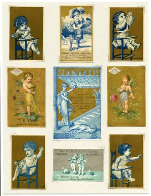 "<em>""Set of 9 tradecards mounted on cardstock. Recto.""</em>. Printed material, 15 x 11.5 in (38 x 29.3 cm). Brooklyn Museum, CHART_2011. (HF5841_Ad9_p29_recto.jpg"