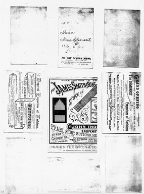 """<em>""""Photocopy of set of 9 tradecards mounted on cardstock. Verso.""""</em>. Printed material, 15 x 11.5 in (38 x 29.3 cm). Brooklyn Museum, CHART_2011. (HF5841_Ad9_p29_verso_photocopy.jpg"""