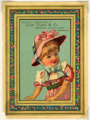 """<em>""""Tradecard. John Paret & Co. Retail Clothiers. Brooklyn, NY. Recto.""""</em>. Printed material, 5.125 x 3.75 in (13 x 9.7 cm). Brooklyn Museum, CHART_2011. (HF5841_Ad9_p7A_tradecard03_recto.jpg"""