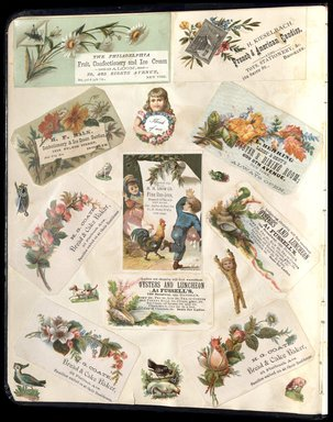 "<em>""Full view of scrapbook page. Includes 5 tradecards for Brooklyn businesses: Mrs. H. Keiselbach, H. F. Balk, H. G. Coate.""</em>. Printed material, 10 x 12.25 in (25.4 x 31.1 cm). Brooklyn Museum, CHART_2012. (HF5841_C59_v1_p02.jpg"