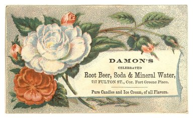 "<em>""Tradecard. Damon's. 717 Fulton Street. Brooklyn, NY. Recto.""</em>. Printed material, 4.35 x 2.65 in (11 x 6.7 cm). Brooklyn Museum, CHART_2012. (HF5841_C59_v1_p03_tradecard01_recto.jpg"