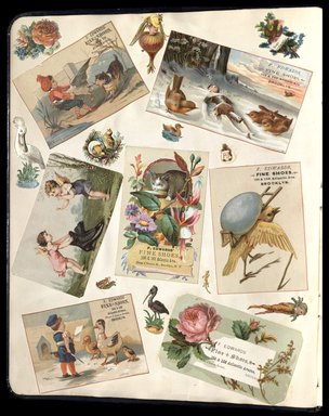 "<em>""Full view of scrapbook page. Includes 6 tradecards for Brooklyn business: F. Edwards Fine Shoes.""</em>. Printed material, 10 x 12.25 in (25.4 x 31.1 cm). Brooklyn Museum, CHART_2012. (HF5841_C59_v1_p08.jpg"
