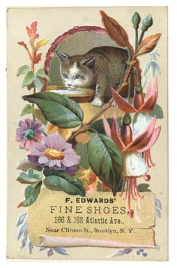 "<em>""Tradecard. F. Edwards Fine Shoes. 166 & 168 Atlantic Ave. Brooklyn, NY. Recto.""</em>. Printed material, 3 x 4.4 (7.3 x 11.1 cm). Brooklyn Museum, CHART_2012. (HF5841_C59_v1_p08_tradecard03_recto.jpg"